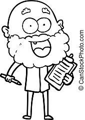 barbe, fou, agrafe, notes, planche, heureux, dessin animé, homme