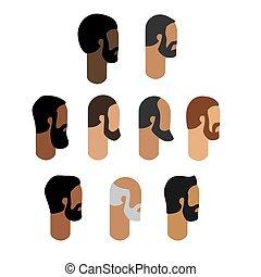 barbe, gens, tête, agrafe, art moderne, isolé, ensemble, icône, homme, vector., figure, profil, plat, design.