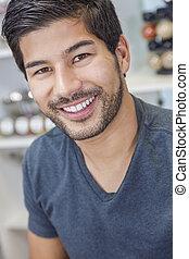 barbe, homme souriant, asiatique, beau