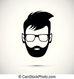 barbe, icône, homme