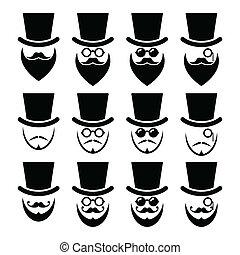 barbe, lunettes, chapeau, homme