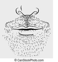 barbe, partie, .vector, homme, figure