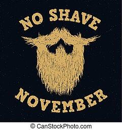 barbear, dourado, silueta, lettering, não, impressão, novembro, barba