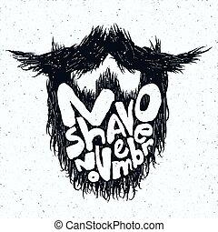 barbear, lettering, silueta, não, impressão, novembro, barba