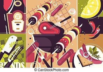 barbecue, abstrakt, baggrund