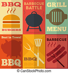 barbecue, affiches, retro, collection