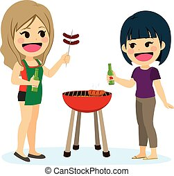 barbecue, amis fille