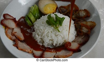 barbecue and crispy pork dressing sweet red gravy sauce from...