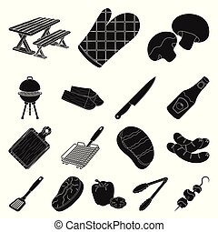 Barbecue and equipment black icons in set collection for design. Picnic and fried food vector symbol stock web illustration.