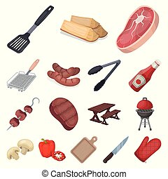 Barbecue and equipment cartoon icons in set collection for design. Picnic and fried food vector symbol stock web illustration.
