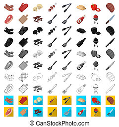 Barbecue and equipment cartoon icons in set collection for...