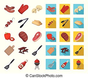 Barbecue and equipment cartoon,flat icons in set collection...