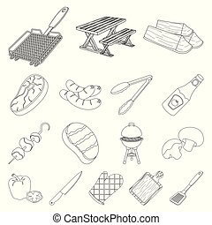 Barbecue and equipment outline icons in set collection for design. Picnic and fried food vector symbol stock web illustration.