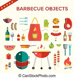 Barbecue and Food Icons Vector Objects set. Outdoor, Kitchen...