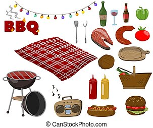 Barbecue and grill collection set, picnic food symbols, drinks, steaks from fish and meat, accessories for a bbq party cartoon vector Illustrations