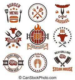 Barbecue and grill colored labels, badges, emblems