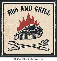 Barbecue and grill. Grilled meat with fork and Kitchen spatula on grunge background. Design elements for poster, emblem, sign. Vector illustration