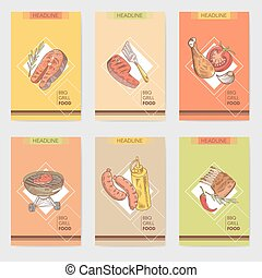 Barbecue and Grill Hand Drawn Cards Brochure Menu with Meat, Steak and Vegetables. Food and Drink. Vector illustration