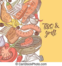 Barbecue and Grill Hand Drawn Design with Meat, Sausage and Vegetables. Picnic Party. Vector illustration