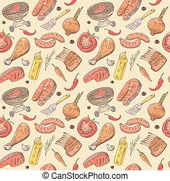 Barbecue and Grill Hand Drawn Seamless Background with Steak, Meat, Fish and Vegetables. Picnic Party Pattern. Vector illustration