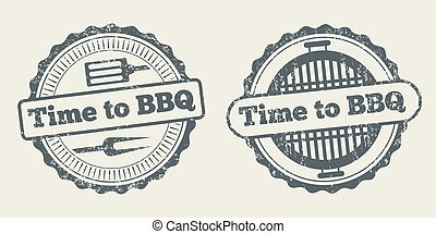 Barbecue and grill label steak house restaurant menu design vector element