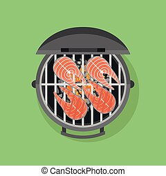 Barbecue and grilled salmon steak. Flat style vector illustration.