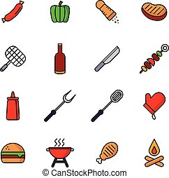 Barbecue And Picnic Icons