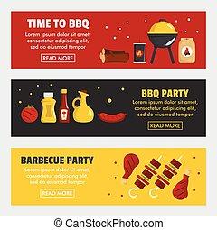 Barbecue and steak three horizontal banners