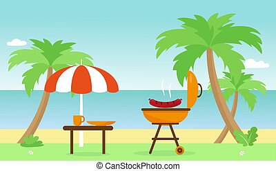 Barbecue and table near palms and beach.