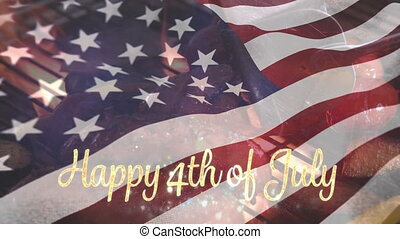 Barbecue and the American flag with a Happy 4th of July text