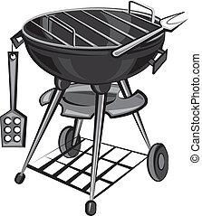 barbecue, apparat, grill