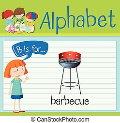 barbecue,  B, lettera,  flashcard
