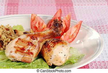 barbecue, baguettes poulet, repas