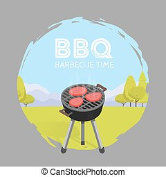 Barbecue BBQ Time Vintage Graphic Vector Illustration