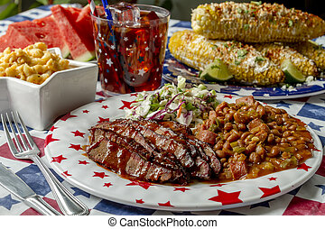 Barbecue beef brisket holiday picnic table - Picnic table ...