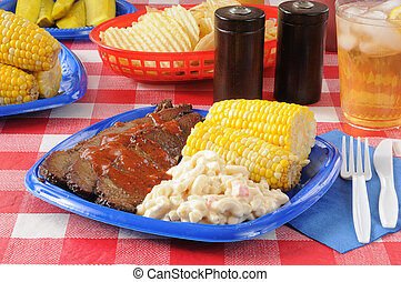 Barbecue beef brisket with macaroni salad