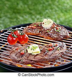 barbecue, bistecca, cuocere, delizioso