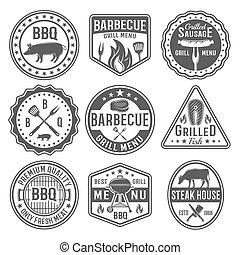 Barbecue Black White Emblems