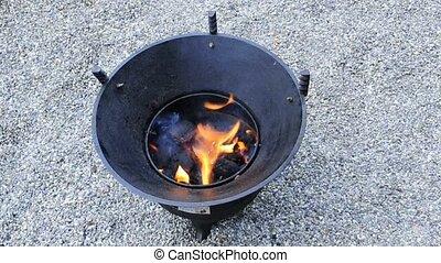 barbecue, brûlé, charbon de bois