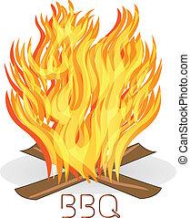 barbecue, brûler, flammes, logo, vecteur