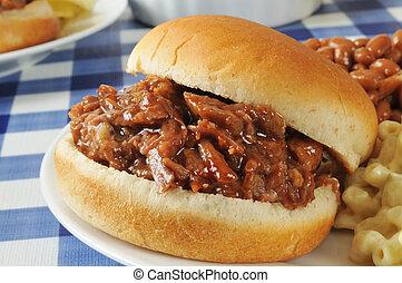 barbecue, broodje, closeup, rundvlees