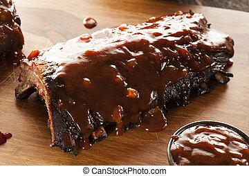 barbecue, carne di maiale, affumicato, risparmiare costole