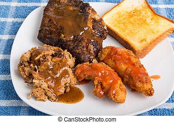 barbecue, carni, piastra, tre