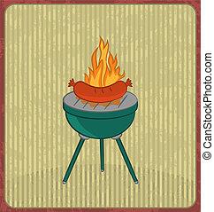 barbecue, carte, à, saucisse, et, flamme