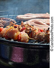 Chicken and sausages barbecue