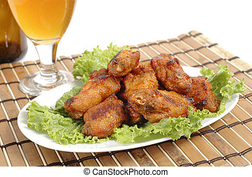 Barbecue Chicken Wings - Plate of delicious barbecued wings ...