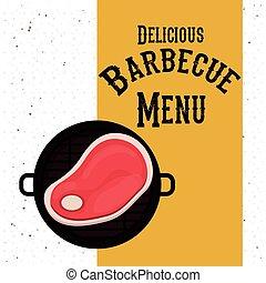 barbecue, conception, délicieux