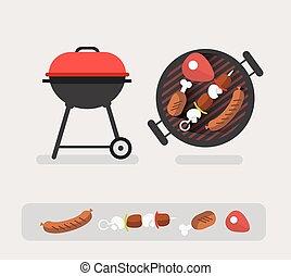 barbecue, concetto, illustrazione