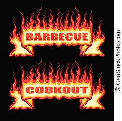 Barbecue Cookout Fire Flame Banner Straight Scroll is an ...