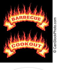 Barbecue Cookout Fire Flames Banner is an illustration of an...